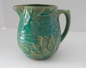 McCoy Buttermilk Pitcher Turquoise Lily Pad Water Lily  124