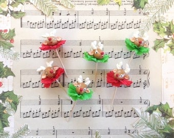 Reindeer/Cupcake Toppers/ Christmas Toppers