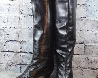 vintage NINA RICCI black leather reptile pull up womens boots 37EUR - Nina Ricci boots - knee high boots - classic boots - leather boots