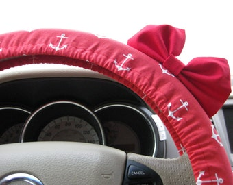 Steering Wheel Cover Bow, Red Anchor Steering Wheel Cover with Red Bow, Navy Nautical Anchor Fishing Beach Cover Wheel Red White BF11296