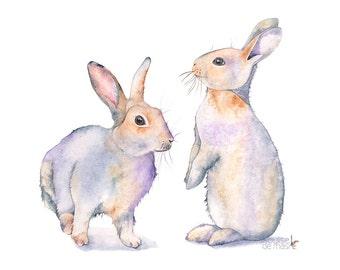 Rabbit watercolor painting, rabbit print, woodland animal print, nursery watercolor print, rabbit nursery art, 5 by 7, nursery print, R7116