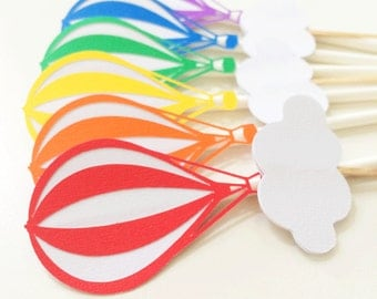 Rainbow Hot Air Balloon Cupcake Toppers Qty 12