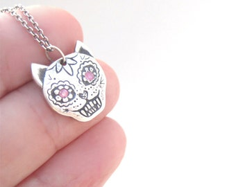 Day of the Dead Cat Charm Necklace, Dia de los Muertos, SIlver Cat Necklace, One of a Kind