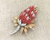 BOUCHER Enamel Brooch - Marcel Boucher Rhinestone Brooch - Vintage Designer Rhinestone Jewelry