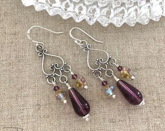 Sterling Silver Dangle Earrings - Sterling Silver Chandelier Earrings - Vintage Repurposed Purple Crystal Earrings, Handmade Earrings