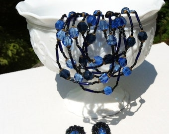 Retro Vogue Crystal Cobalt Blue Multi-Strand Necklace and Earrings