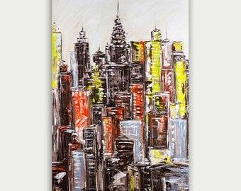 Original Colorful New York City Oil Painting, Abstract & Modern Skyline Artwork, Fine Art, Home Decor