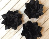 "Black Fabric Flowers Soft Poinsettia Flowers 3"" - 7cm Kanzashi DIY Baby Headband Supplies Wholesale flowers embellishment applique Lotus"