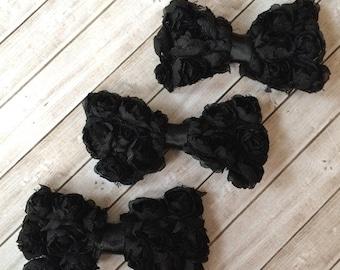 "3 shabby bows Black SMALL 3"" Rosette Bows DIY shabby chic chiffon rose fabric small bows  baby headband bows -shabby bow ties wholesale bows"