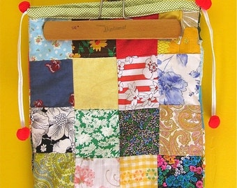 on sale Vintage Bag, Patchwork Purse, VIntage 70s, Drawstring Bag, Hobo Bag, Vintage Handmade Purse, Vintage Patchwork