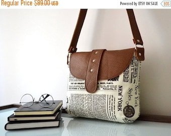 WINTER SALE Gift For Wife, Leather Canvas Messenger Crossbody Bag, Gift For Women, Newspaper Bag, Back To School Bag, Gift For Her, Gift For