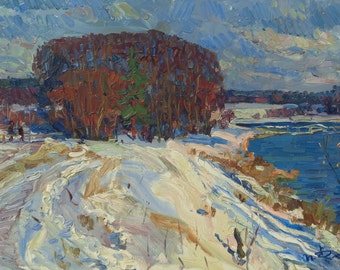 Winter in Russia. 1964  Original oil painting on cardboard 33cm x 48cm by russian artist