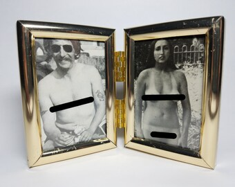 Framed biker lady with mate from 80s Easyriders magazine - naked motorcycle chick for the mature enthusiast - vintage