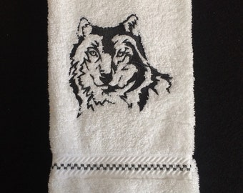 Northwoods Silhouette Wolf Embroidered bathroom hand towel.