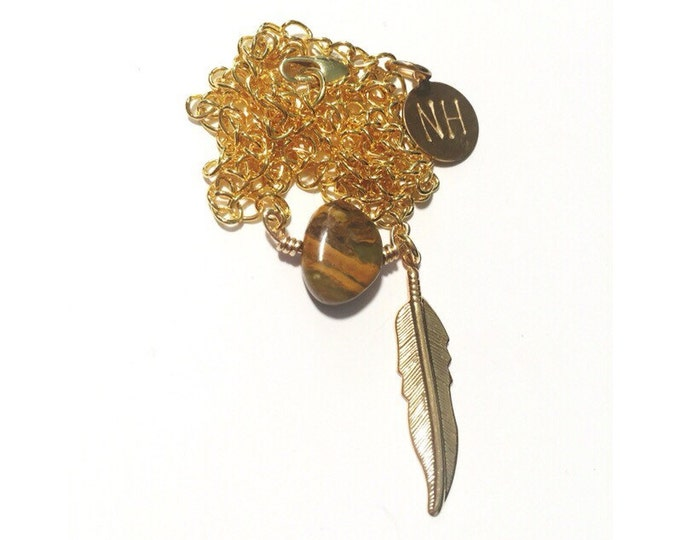 Brown Agate + Feather Necklace // Jewelry // Free Spirit Collection