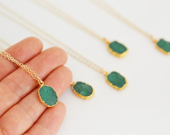 Emerald Slice Necklace, Bezel Set Emerald Necklace in Gold, Gold Necklace, Gold Pendent Necklace, Gold Emerald Necklace
