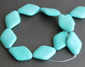 Chalk Turquoise Large Diamond Beads 30x20mm (4 Beads)