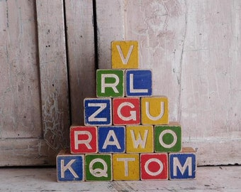 Vintage Toy Wooden Alphabet Blocks, ABC, Boys Room, Nursery Decor