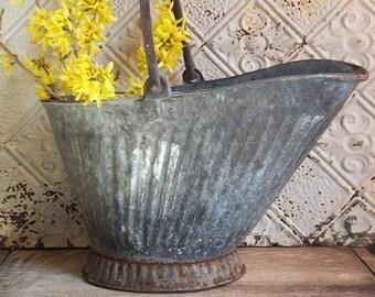 Vintage Coal Bucket, Coal Scuttle, Galvanized Metal Pail