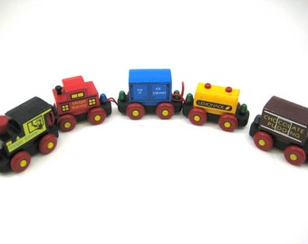 Vintage Montgomery Schoolhouse Midget Railway, Wood Train Set, 5 Wooden Toy Train Cars - Ice Cream, Chocolate Pudding Car, Made in Vermont
