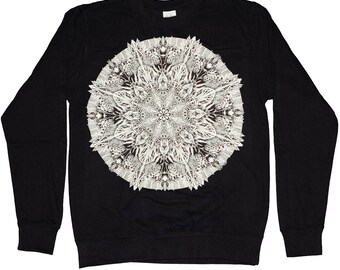 Sweater- Harvest Mandala - Black Round Neck Sweater