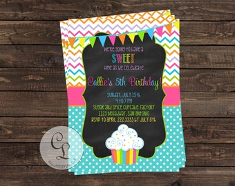 Cupcake Invitation-Sweet Birthday Invite-Candyland Themed Party-Casbury Lane