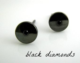 Men's stud earrings with black diamonds, custom gemstone stud earrings, birthstone gemstone, men's stud earrings, men's earrings, 420 7SBGem