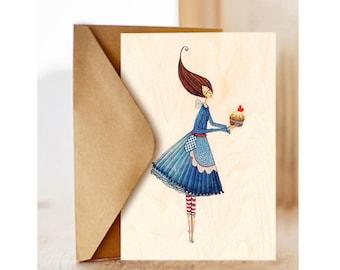 "Wood card  ""Cupcake"", Romantic, Happy Birthday Card , Birthday Card for Friend, Optimisitc"