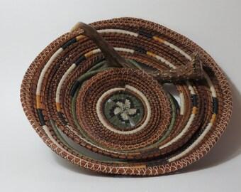 "Pine needle basket art basket, antler basket, ""Bartell Woods"" subtle ivory, sage green, brown, handwoven by Linda Miranda"