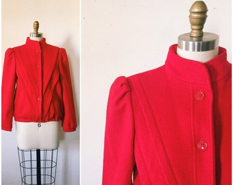 Vintage Red Wool Coat / 1980s Coat in Cherry Red • Size Small