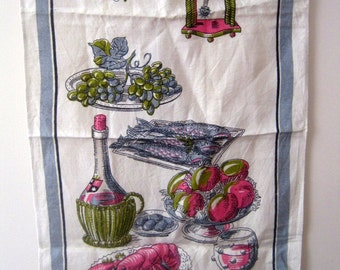 Vintage Diner Setting Linen Tea Towel