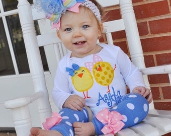 Easter Outfit for Girls - All My Chickies Wear BIG Bows - chick bodysuit, leg warmers and bow -- our EXCLUSIVE cornflower blue leg warmers