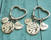 mother daughter gifts, mothers day gift, I love you to the moon & back, mother daughter keychains, daughter birthday gift, mom birthday gift
