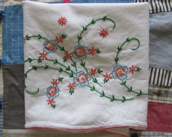Hand Embroidered Pillowcase Floral Leaf Spray White Cotton