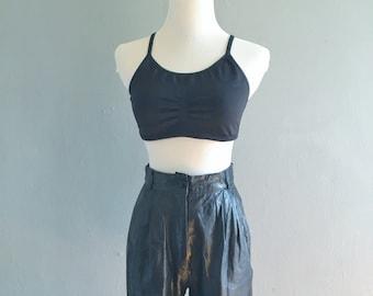 Vintage 80s Black Leather Shorts