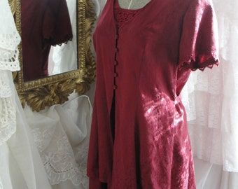 Vintage dress, burgandy, 80s, 90s