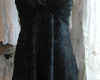 Lingerie sheer black gypsy babydoll gown, romantic nightgown