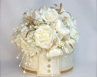 Wedding Card Box Cream and Gold  Wedding Card Box, Ivory Gold Wedding Card holder, Memory Box, Floral Centerpiece, Securely Locked