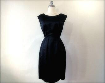 1950's-1960's DYNASTY Black Silk Beaded Wiggle Dress