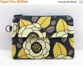 Summer SALE Gray Flower Mini Wallet, Zipper Coin Purse, Gadget Pouch, Gift idea, Small Zipper Pouch, Card Case, Padded