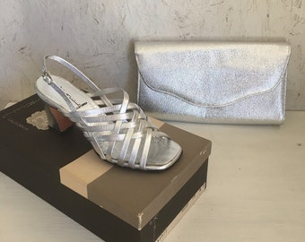 60s Silver Strappy Sandals and Matching Clutch Purse by Mr. Kimel California Size 5 M