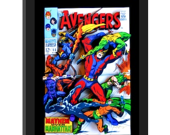 SALE- The Avengers Vol 1 #55 - 3D Comic Book COVER Sculpture 10x13x3 shadowbox framed - Free Shipping