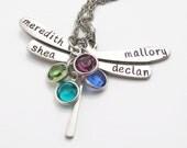 Birthstone Jewelry - Custom Necklace - Personalized Dragonfly Necklace - Personalized Mom Necklace - Hand Stamped Necklace - Stamped Jewelry