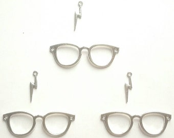 3 Sets Harry Potter Glasses and Scar Tibetan Silver Charms - glasses approx 55mm x 19mm