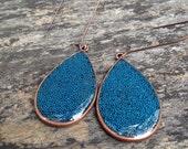 Blue Copper Dangle Drop Earrings