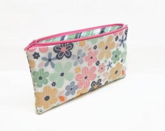 zipper pouch pencil case makeup bag zipper bag makeup pouch multi colored flowers on white
