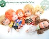 Tiny Vintage Dolls 1970s & 1980s Lot of 6 Liddle Kiddle Klones Littles Daphne