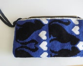 Tapestry and suede jewellery pouch featuring black cats and hearts