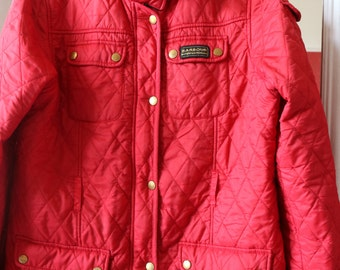 Barbour style red vintage polyester jacket uk 14 -16, us 10 - 12
