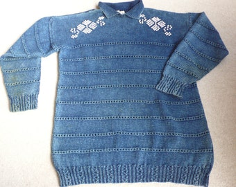 SALE Artwork denim blue beaded sweater handknit Gottelier collectable L
